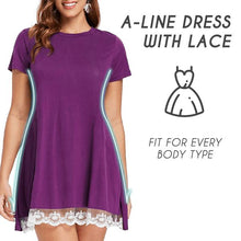 Load image into Gallery viewer, Short Sleeve Travel Lace Dress Beauty AiryIndigo PURPLE S