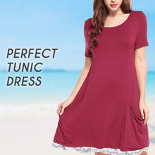 Load image into Gallery viewer, Short Sleeve Travel Lace Dress Beauty AiryIndigo