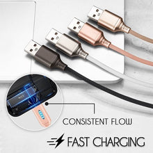 Load image into Gallery viewer, Auto Cut-off Fast Charging Nylon Cable Innovative esfranki.co Black iOS