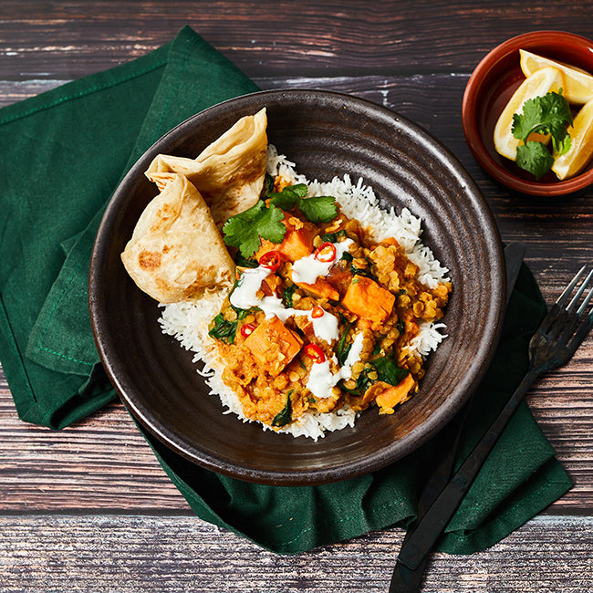 RED LENTIL, ORANGE KUMARA AND SPINACH DHAL