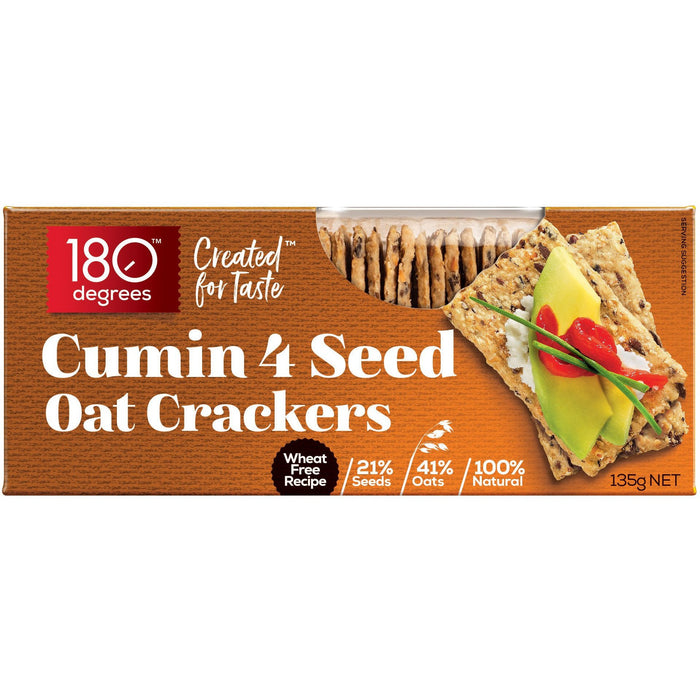 180 DEGREES 4 SEED CUMIN OAT CRACKERS 135G