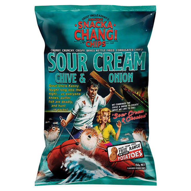 SNACKACHANGI KETTLE CHIPS SOUR CREAM CHIVES AND ONION 150G