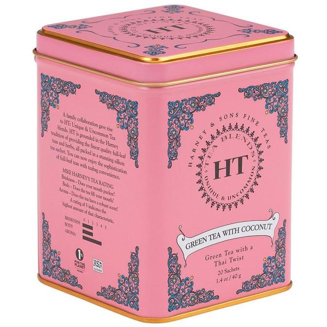 HARNEY GREEN TEA WITH COCONUT TIN 20PACK