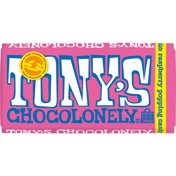 TONYS CHOCOLONELY WHITE CHOCOLATE RASPBERRY POPPING CANDY 180G