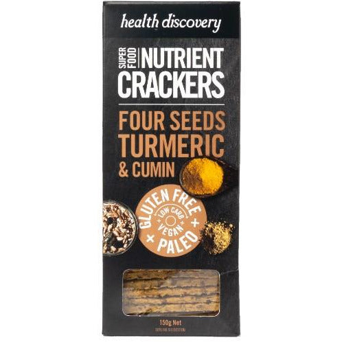 HEALTH DISCOVERY TURMERIC AND CUMIN PALEO CRACKERS 150G