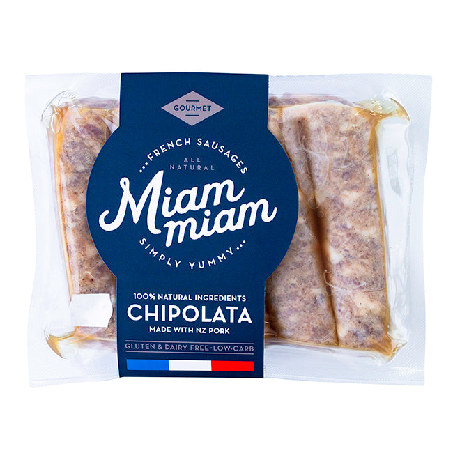 MIAM MIAM PORK CHIPOLATA SAUSAGES 400G