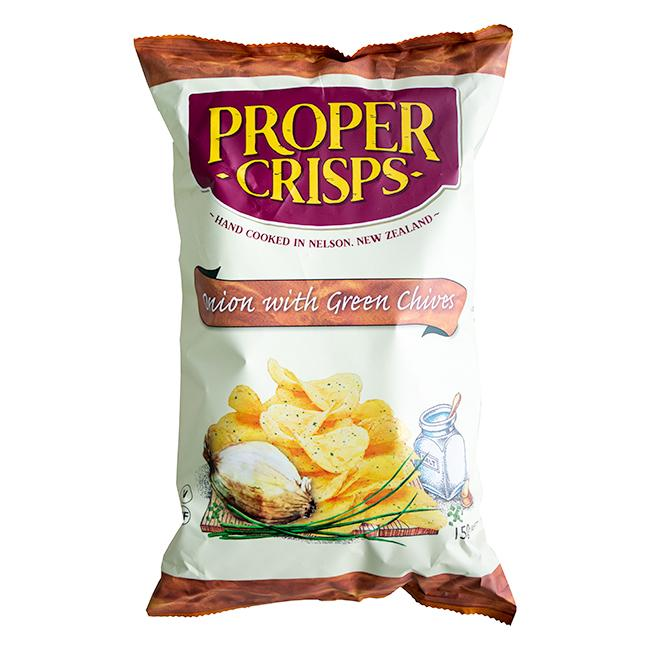 PROPER CRISPS ONION WITH GREEN CHIVES 150G
