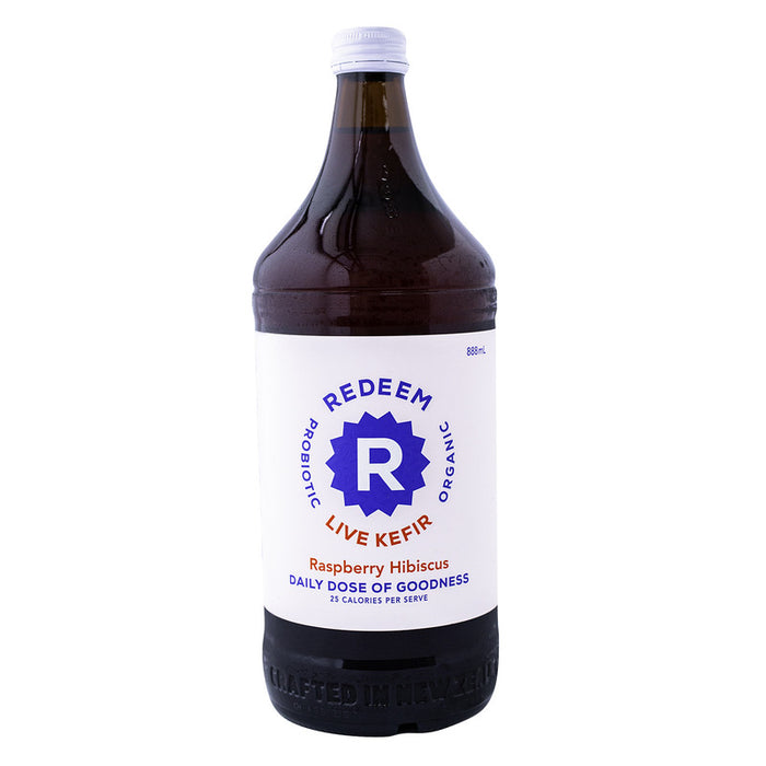 REDEEM PROBIOTIC KEFIR SODA RASPBERRY HIBISCUS 888ML