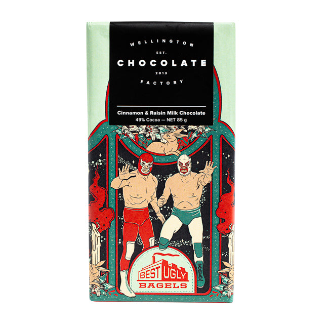 WELLINGTON CHOCOLATE FACTORY CINNAMON AND RAISIN MILK CHOCOLATE 85G