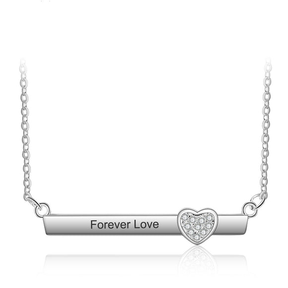 Sterling Silver Engraved Name Necklace