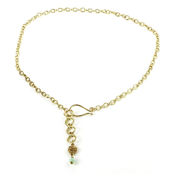 Venus Brass Chain Necklace With Small Jade Bead