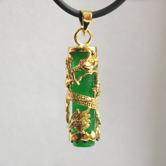 Natural Green Jade Dragon Pendant