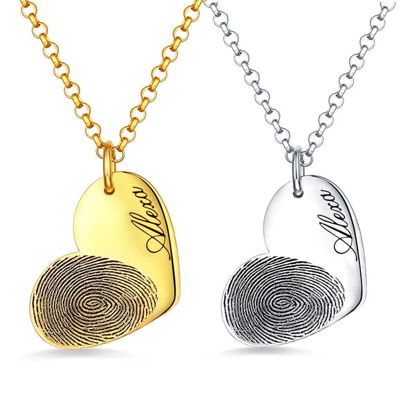 Sterling Silver Engrave Fingerprint Heart Necklaces