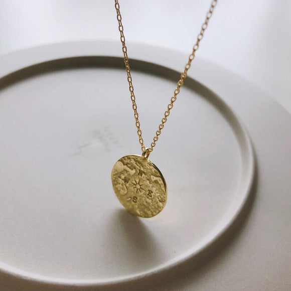 Sterling Silver Coin Round Compass Necklace