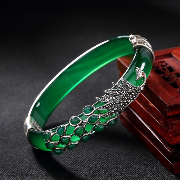 Sterling Silver Peacock Jade Bangles