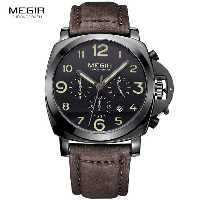 MEGIR New Watch Men Top Famous Brand Luxury Quartz Watches Male Clock Genuine Leather Men Water Proof Wrist Watches