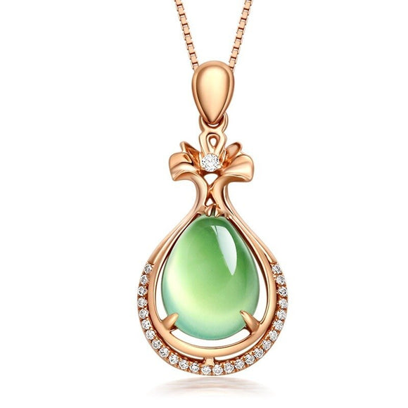 14K Rose Gold Grapevine Jade Necklace