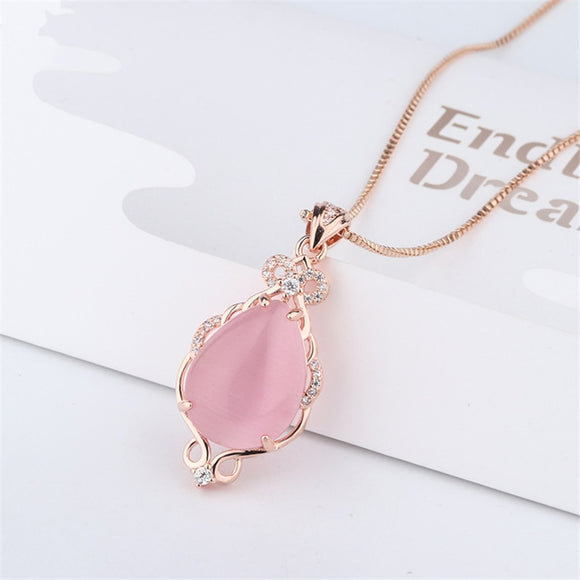 14K Gold Pink Jade Necklaces