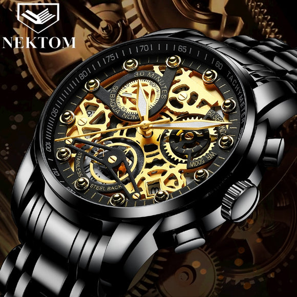 Golden Chronograph Men Wristwatch