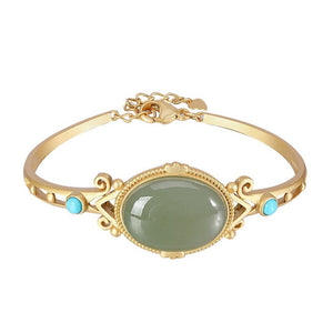 Natural Oval Jade Hollow Bangle