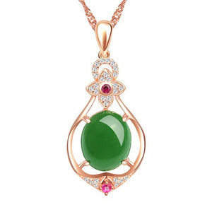 Natural Green Jade Chalcedony Oval 925 Sterling Silver Pendant