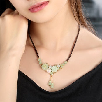 Ethnic Jade Pearl  Necklace