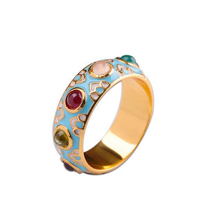 Sterling Silver Colorful Enamel Gemstone Ring