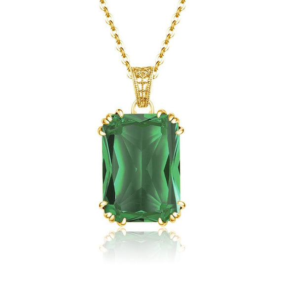 14K Gold Plated Emerald Necklace