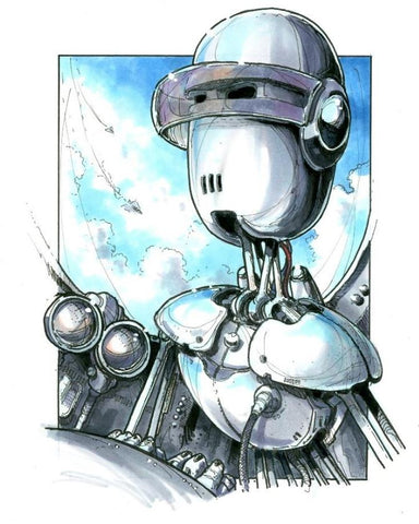 Copic Rendered Robot Sketch