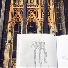 Gothic Architecture Sketch in Avignon by Garrett Ley