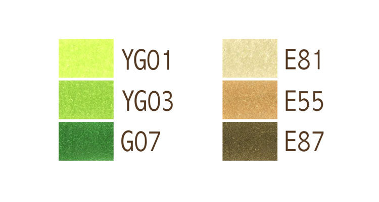 Green and Brown | Copic Color Swatch