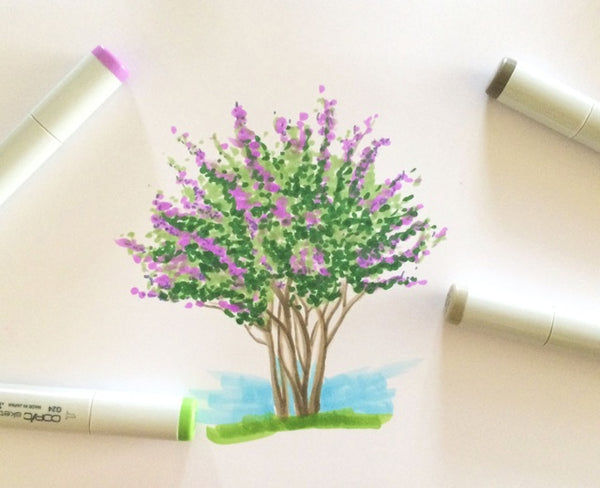 Tutorial on using Copic to create a Crpe Myrtle Tree