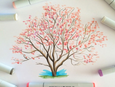 Magnolia Tree using Copic Markers Tutorial