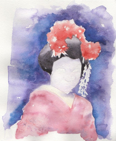 Geisha Watercolor Illustration