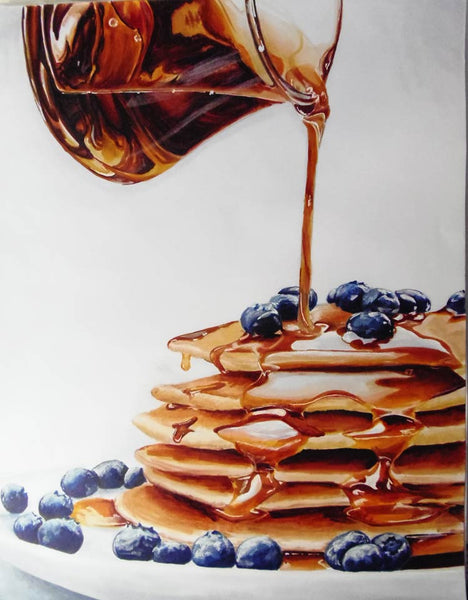 Glass Pitcher Pouring Syrup Pancakes | Copic Markers