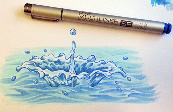 Coloring Water Droplet | Copic Multiliner
