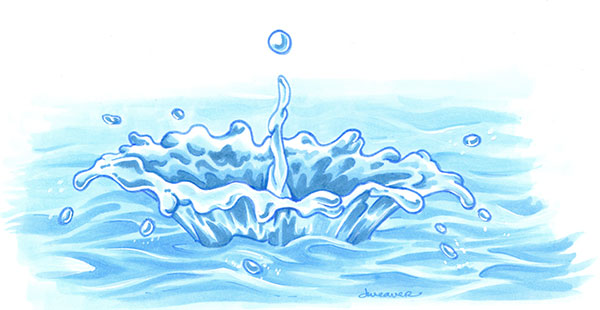 Water Droplet Splash Illustration Copic Markers