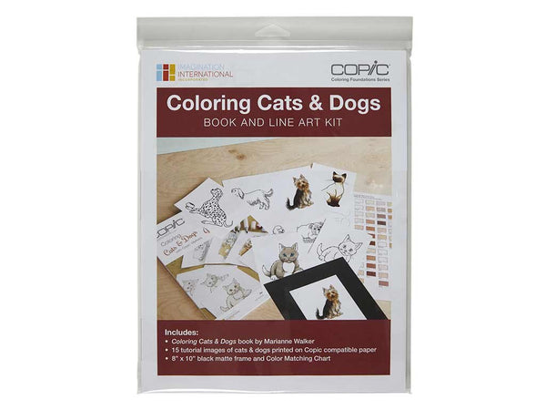 Coloring Foundations: Coloring Cats & Dogs Book & Line Art Kit