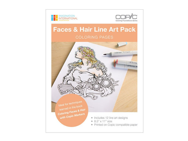 Coloring Foundations: Coloring Faces & Hair Line Art Pack
