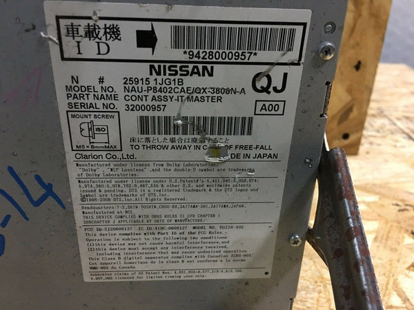 Nissan Pathfinder Radio CD Player Part# 259151JG1B Fits 14 15 16 17 OEM