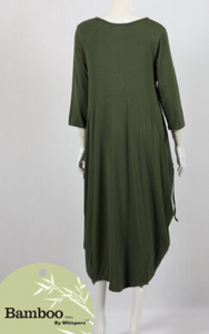 Eva Bamboo Dress- Olive & Black