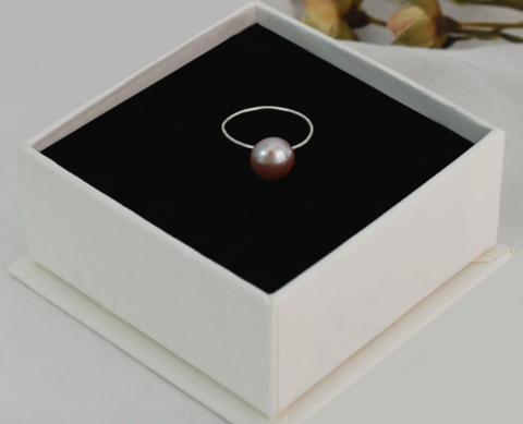 Minimalist Pearl Ring Lavender 925 Silver