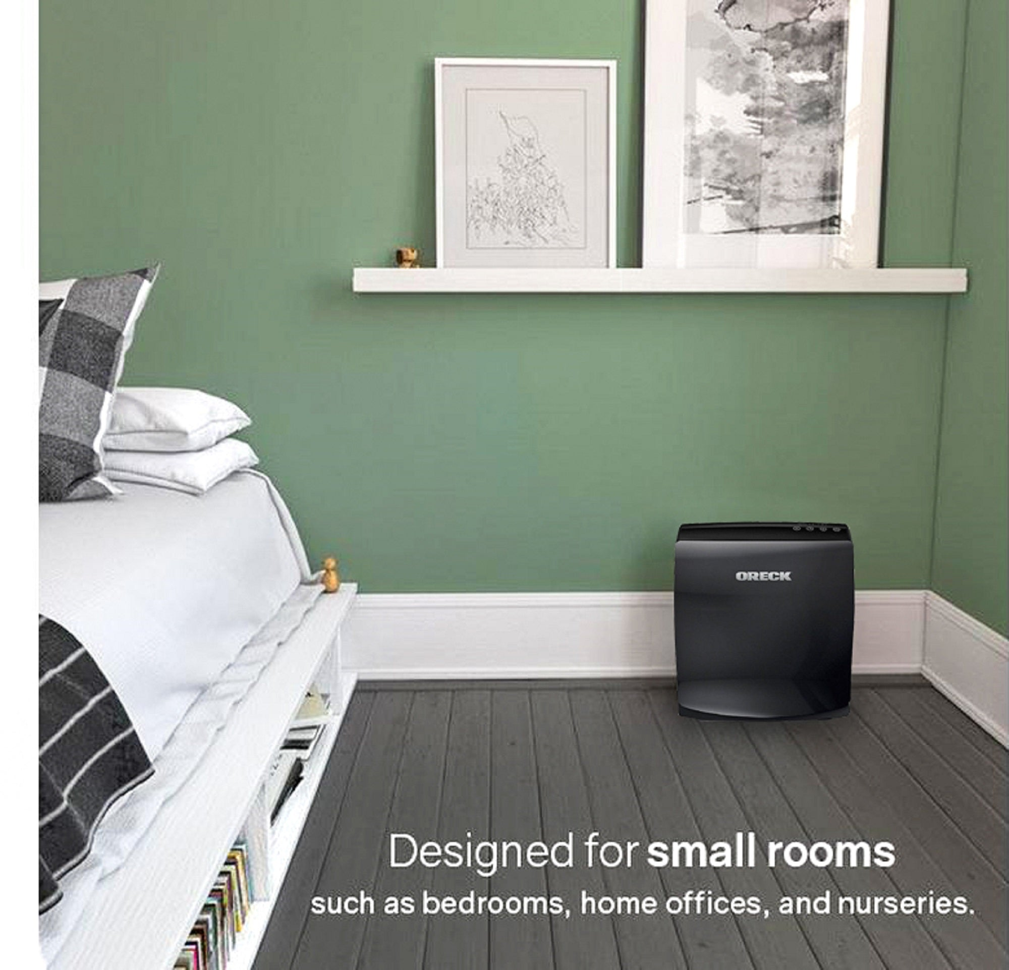 Oreck AirVantage Plus True HEPA, Charcoal and VOC Air Purifier and Allergen Remover For Small To Medium Sized Room WK10052QPC (Black)