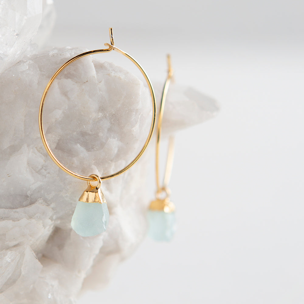 aqua chacedony earrings, rough cut stone earrings, natural gemstones, organic gemstones, made in the usa, hoop earrings, gemstone hoop earrings