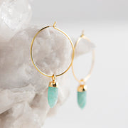 amazonite earrings, gemstone earrings, hoop earrings, made in the usa, meaningful jewelry, jewelry with intention