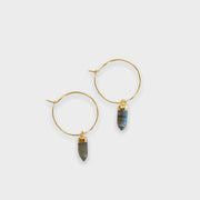 labradorite earrings, hoop earrings, gemstone earrings, made in the usa, jewelry with intention, meaningful jewelry