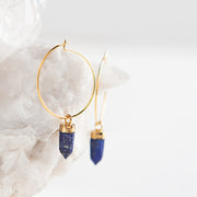 lapis lazuli earrings, gemstone earrings, hoop earrings, made in the usa, jewelry with meaning