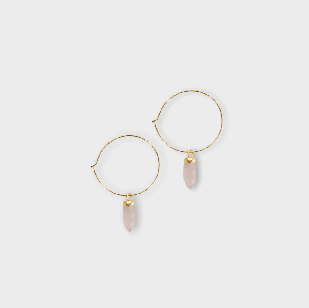 rose quartz earrings, hoop earrings, made in the usa, meaningful jewelry