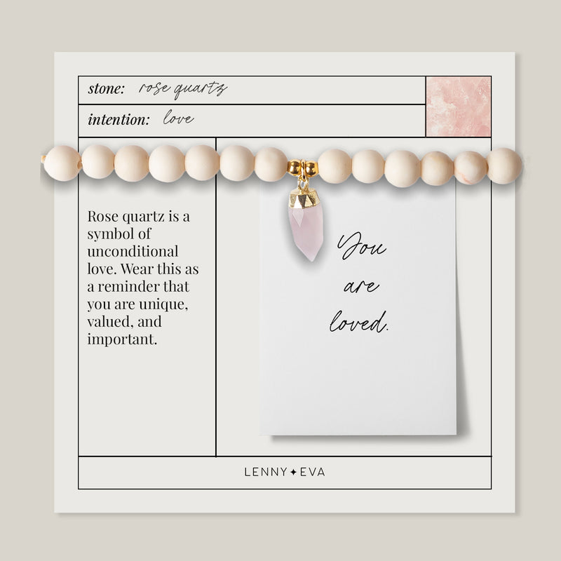 KNOW YOU ARE LOVED. Berklee Stretch Bracelet, Rose Quartz