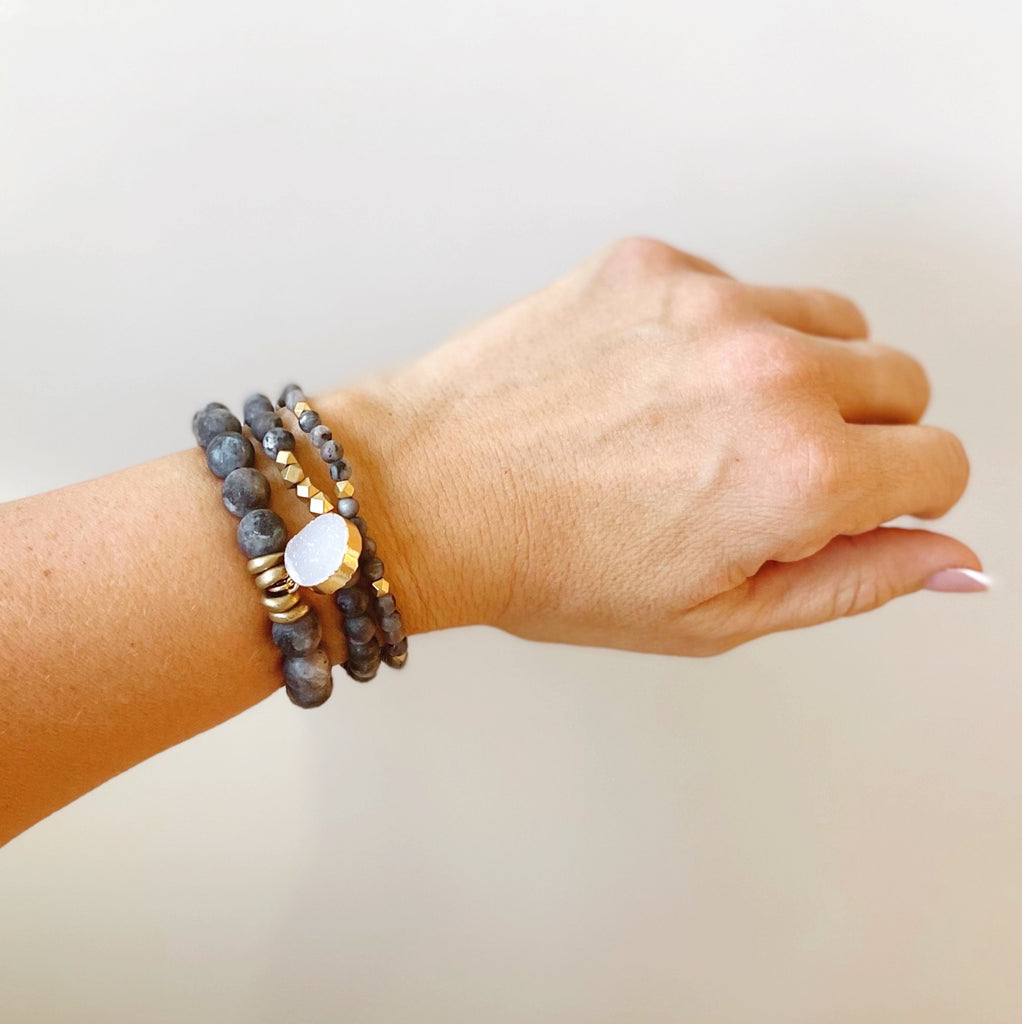 labradorite gemstone bracelet, stretch gemstone bracelets, stacking gemstone bracelets, jewelry with intention, made in the usa, jewelry with meaning